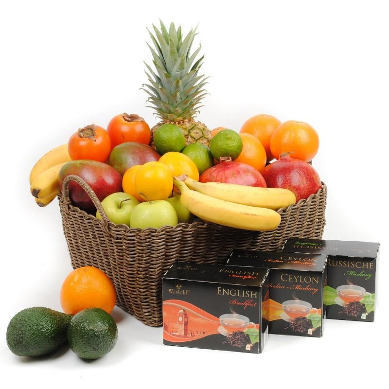 MIXED FRUIT BASKET & TEA